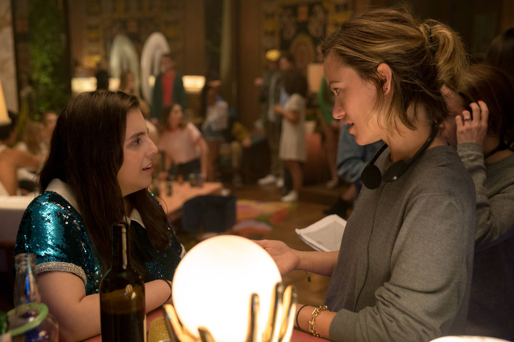 "Beanie Feldstein, left, and director Olivia Wilde on the set of Wilde's directorial debut, ""Boo ..."