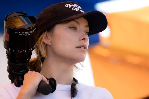 "Olivia Wilde on the set of her directorial debut ""Booksmart."" (Francois Duhamel/Annapurna Pictures)"