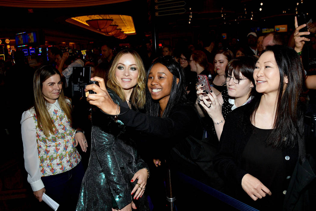 Olivia Wilde poses with fans at The CinemaCon Big Screen Achievement Awards at OMNIA Nightclub ...
