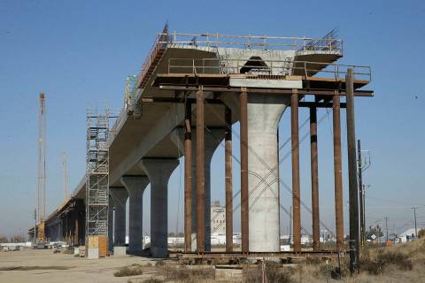 FILE - In this Dec. 6, 2017, file photo, one of the elevated sections of the high-speed rail is ...