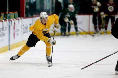 Vegas Golden Knights forward Cody Glass (9) handles the puck during practice at City National A ...