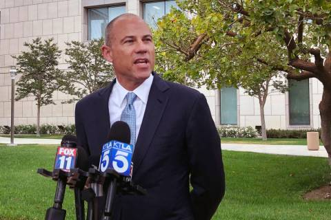 Attorney Michael Avenatti talks to the media outside of federal court in Santa Ana, Calif. on W ...