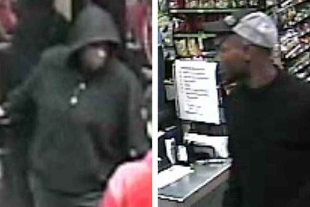 Police are looking for these men suspected in an armed robbery Saturday, May 11, 2019, of a bus ...