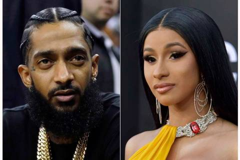 This combination of photos shows rapper Nipsey Hussle at an NBA basketball game between the Gol ...