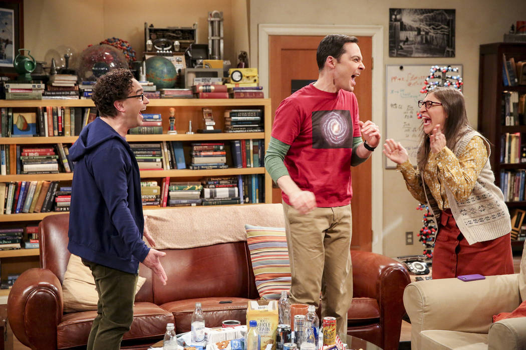 Johnny Galecki, from left, Jim Parsons and Mayim Bialik perform in a scene from the series fina ...