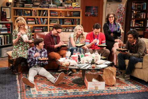 Melissa Rauch, from left, Simon Helberg, Johnny Galecki, Kaley Cuoco, Jim Parsons, Mayim Bialik ...
