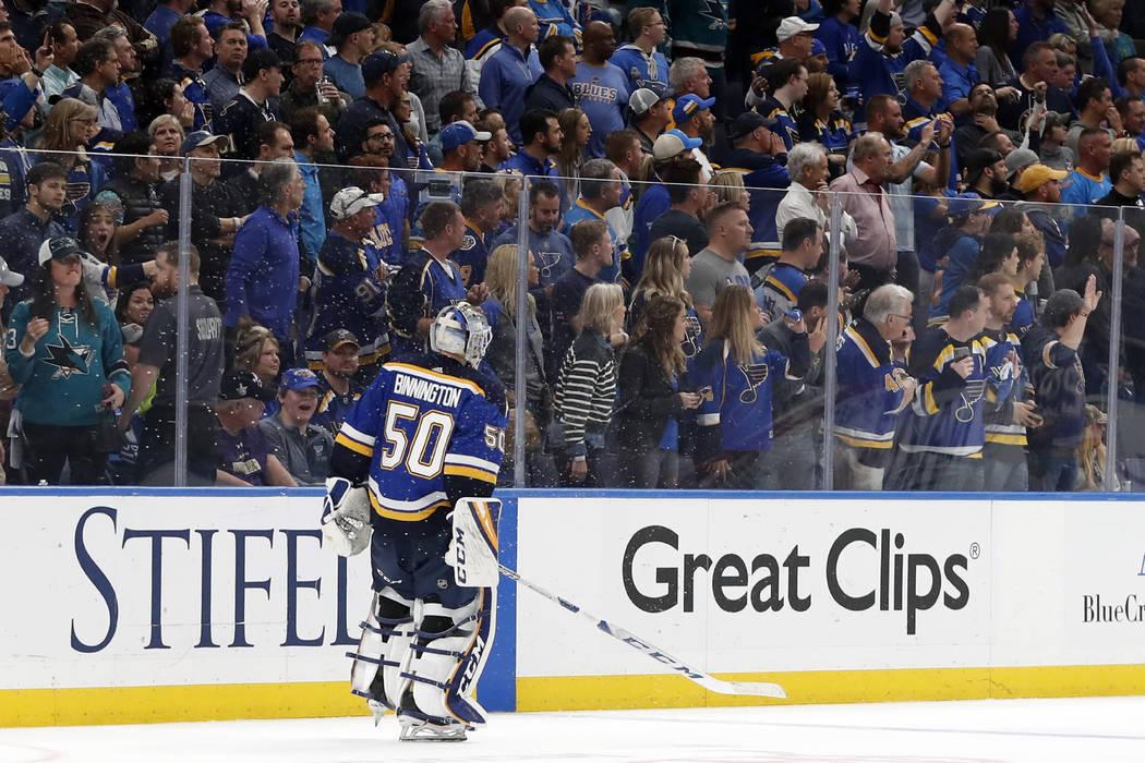 St. Louis Blues goaltender Jordan Binnington skates off the ice after the San Jose Sharks beat ...