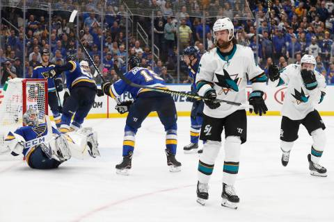 San Jose Sharks defenseman Erik Karlsson (65), of Sweden, skates away after scoring the winning ...