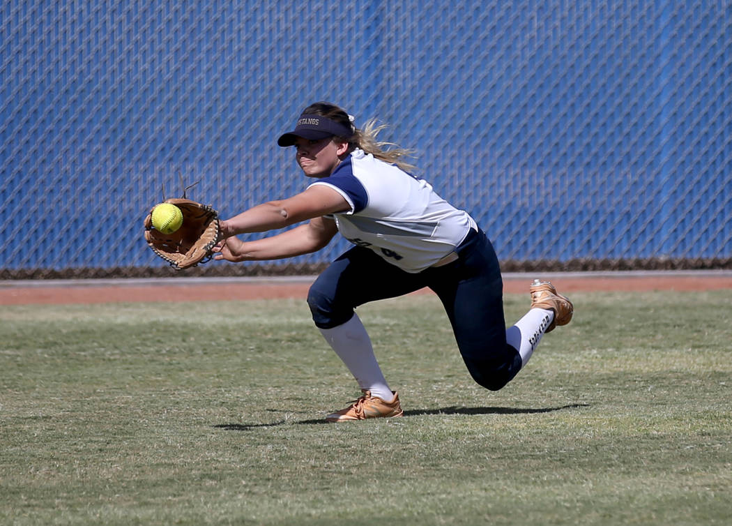 Shadow Ridge outfielder Shea Clements (4) comes up short for a Coronado fly ball in their Class ...