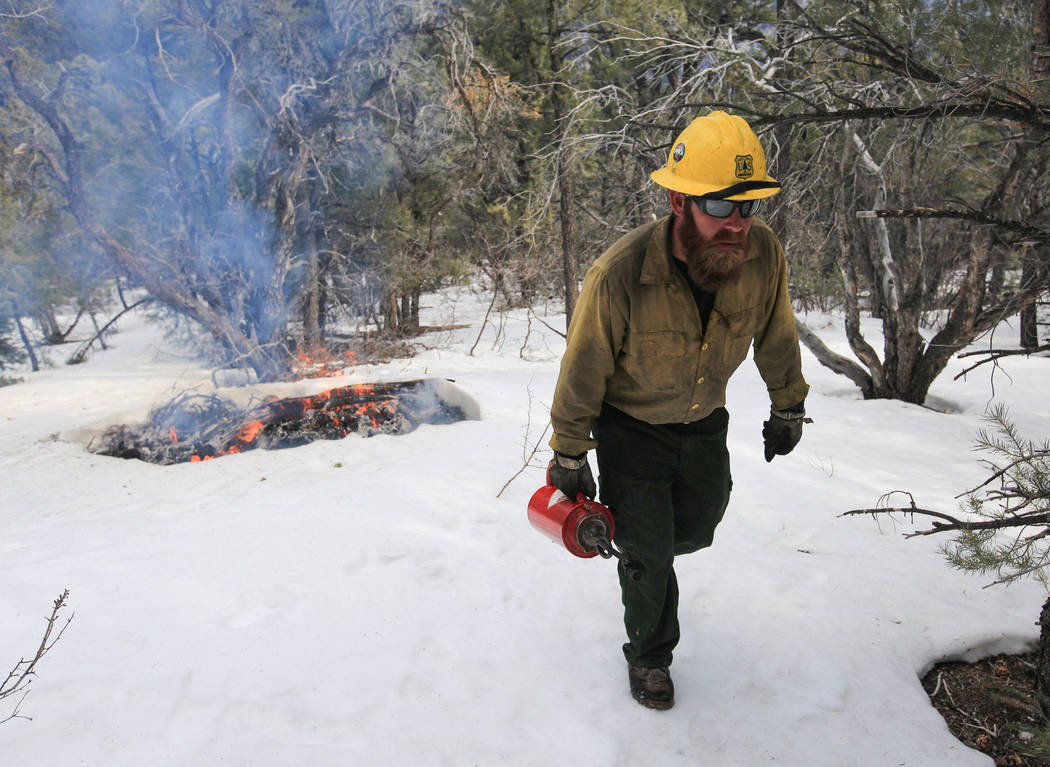 U.S. Forest Service Senior Firefighter Jerry Hart, 39, walks up a hill away from a prescribed b ...