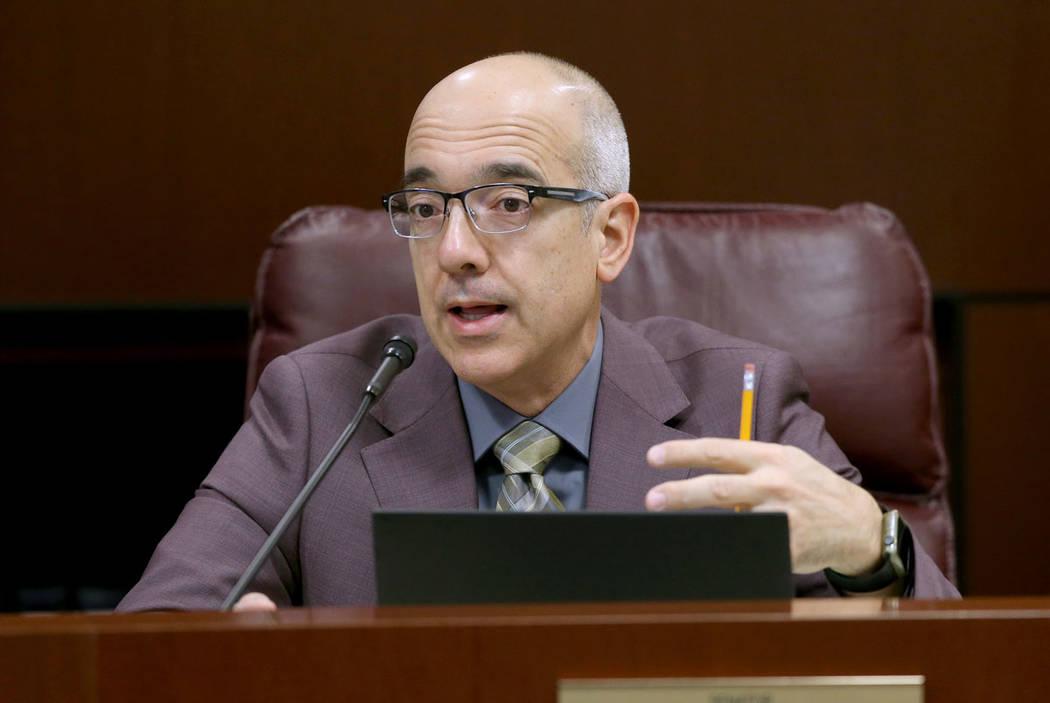 Sen. Mo Denis, D-Las Vegas, asks a question during a Finance Committee meeting in the Legislati ...