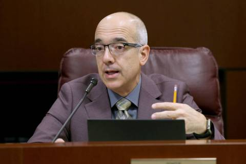 Sen. Mo Denis, D-Las Vegas, asks a question during a Finance Committee meeting in the Legislati ...