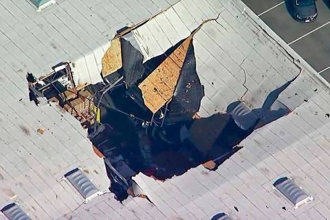 A photo taken from video provided by KABC-TV shows where an F-16 fighter jet crashed into a war ...