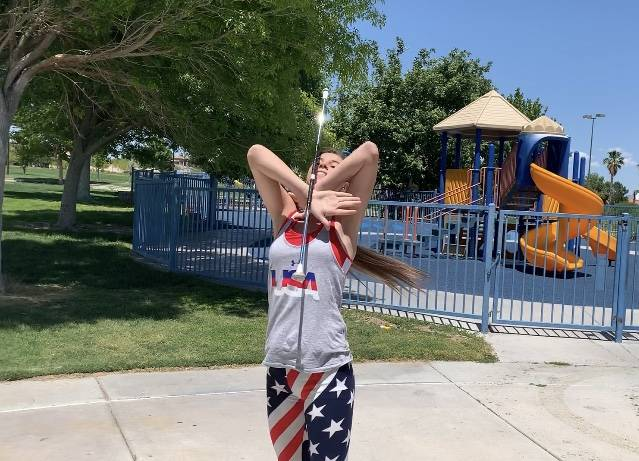 Harlie and Austin Peterson perform in both solo and group events during their baton twirling co ...