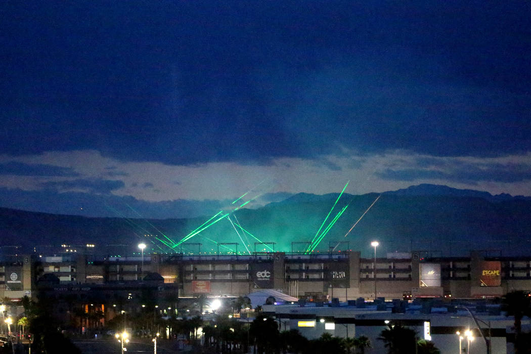 As dawn approaches the Electric Daisy Carnival finishes up its final night at the Las Vegas Mot ...