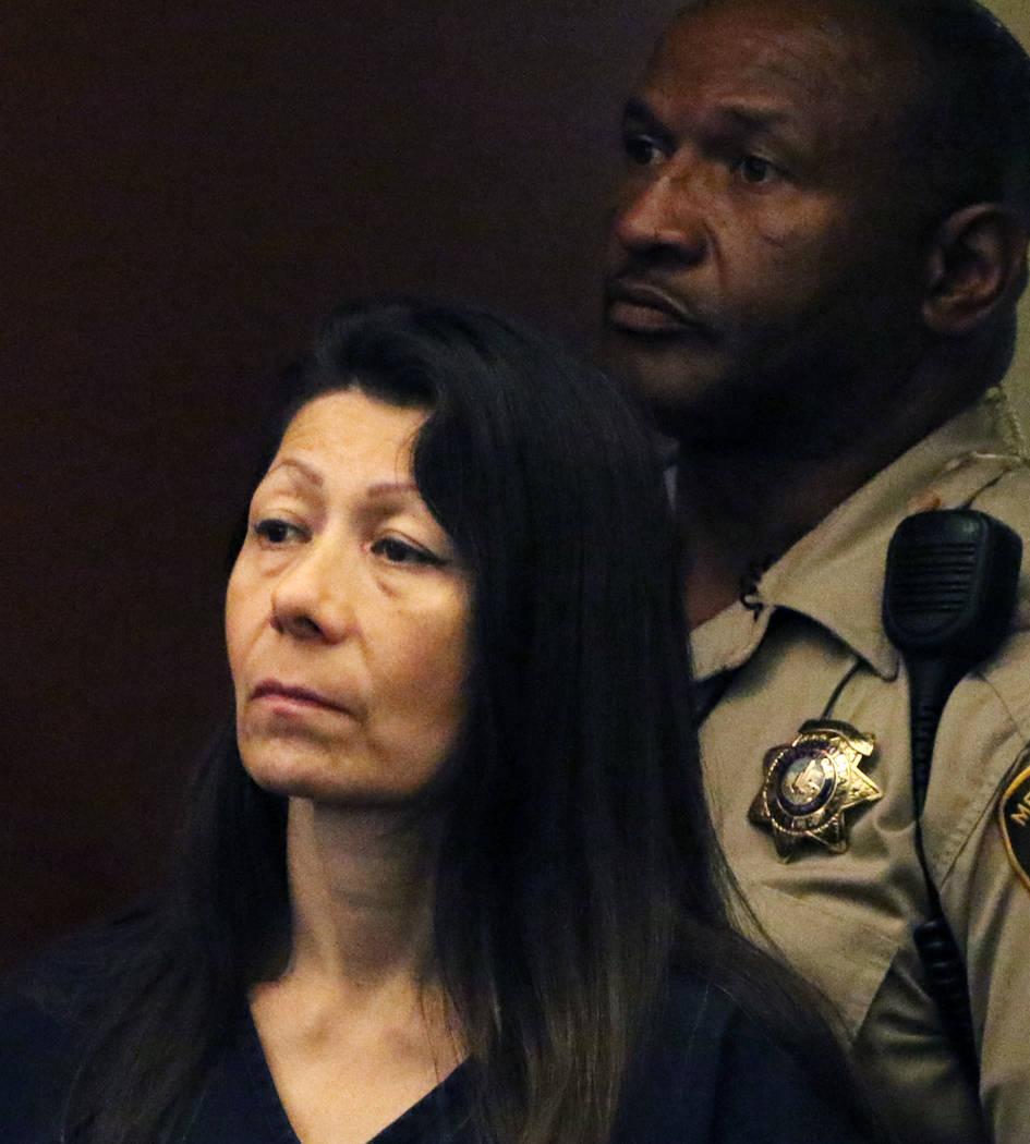 Former Las Vegas police officer Pamela Bordeaux appears in court at the Regional Justice Center ...