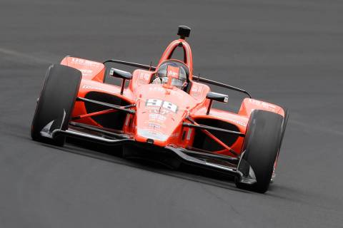 Marco Andretti drives through turn one during practice for the Indianapolis 500 IndyCar auto ra ...