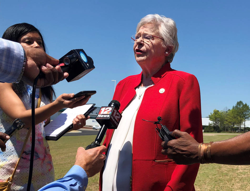 Alabama Gov. Kay Ivey discusses a bill that would virtually outlaw abortion in the state while ...