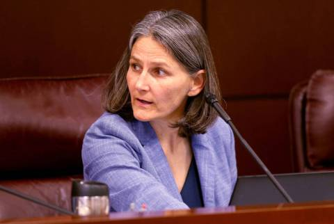 Sen.Julia Ratti, D-Sparks, leads a Health and Human Services Committee meeting in the Legisla ...