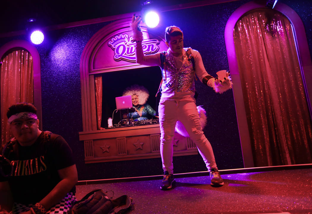 Zeek Shepsky, of Phoenix, dances at The Queen during the first day of the Electric Daisy Carniv ...