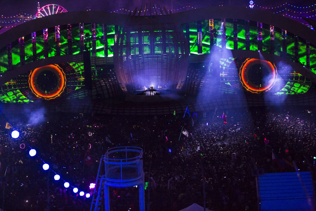 Deadmau5 performs at the Cosmic Meadow stage during the first day of the Electric Daisy Carniva ...
