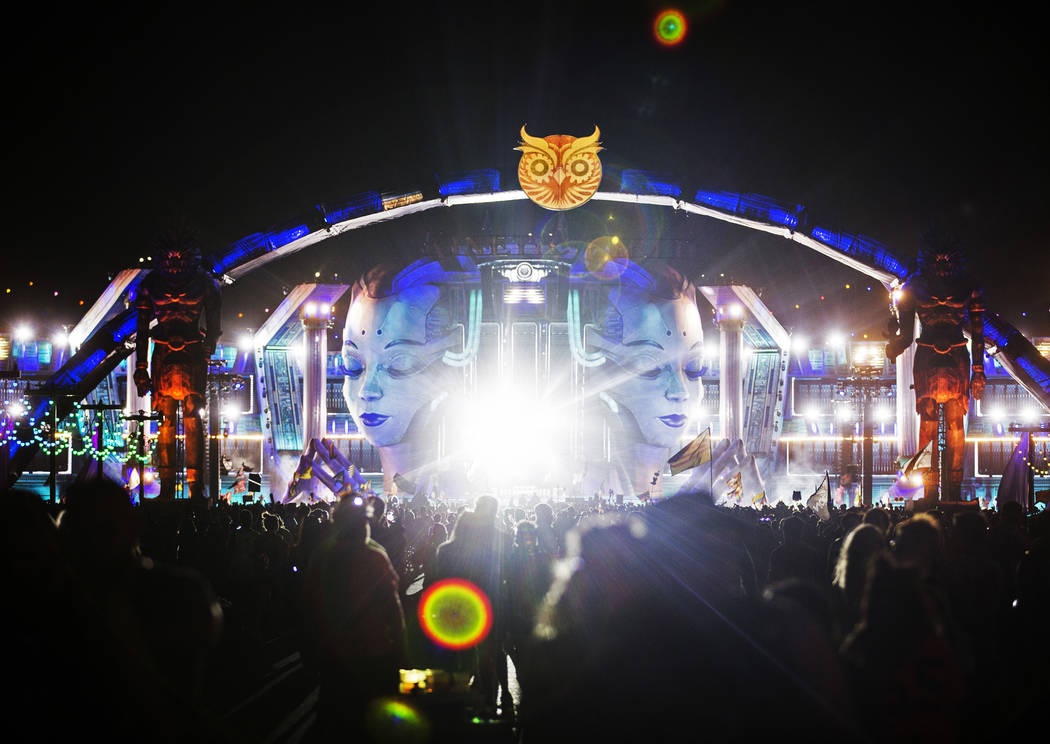 Concert goers make their way to the Kinetic Field stage during day two of Electric Daisy Carniv ...