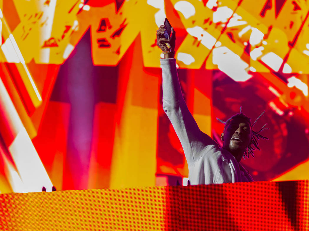 SAYMYNAME fires up the crowd during his performance at the Circuit Grounds stage on day three o ...