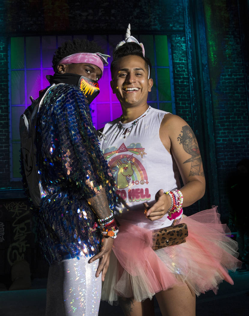 Terry Dix, left, and Jordan Guzman, both from Tyler, Texas, on day three of Electric Daisy Carn ...