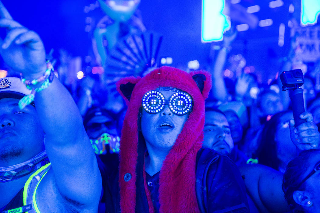 Concert goers dance during SAYMYNAME's performance at the Circuit Grounds stage on day three of ...