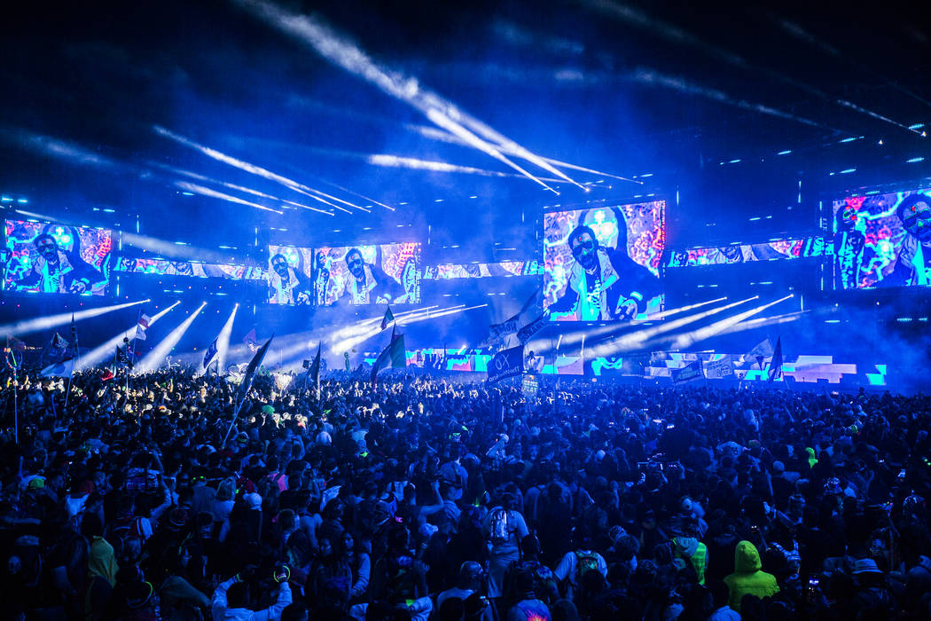 The Circuit Grounds stage is packed to see Steve Aoki on day three of Electric Daisy Carnival a ...