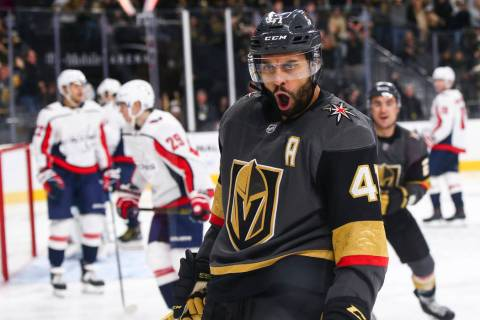 Golden Knights center Pierre-Edouard Bellemare (41) celebrates his goal against the Washington ...