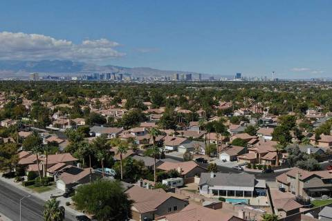 The Las Vegas Strip is seen from a Henderson neighborhood on Friday, October 5, 2018. (Michael ...