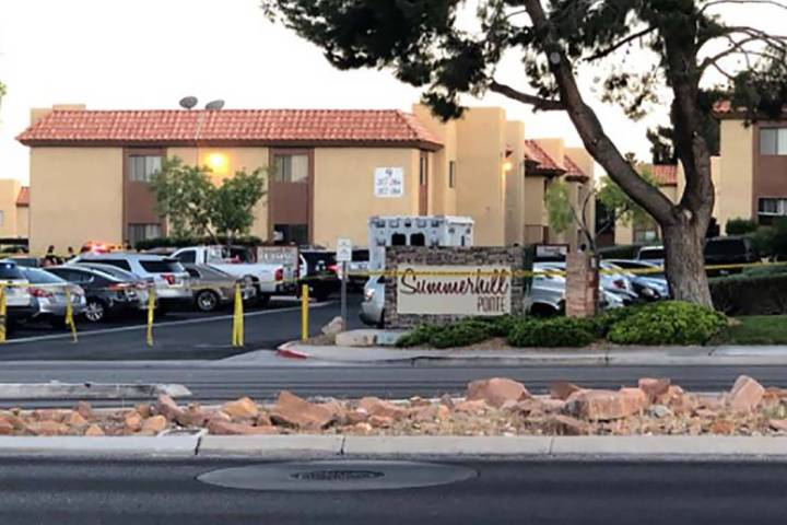 """Las Vegas police investigate a """"domestic related"""" homicide near Sahara Avenue and Fort Apac ..."""