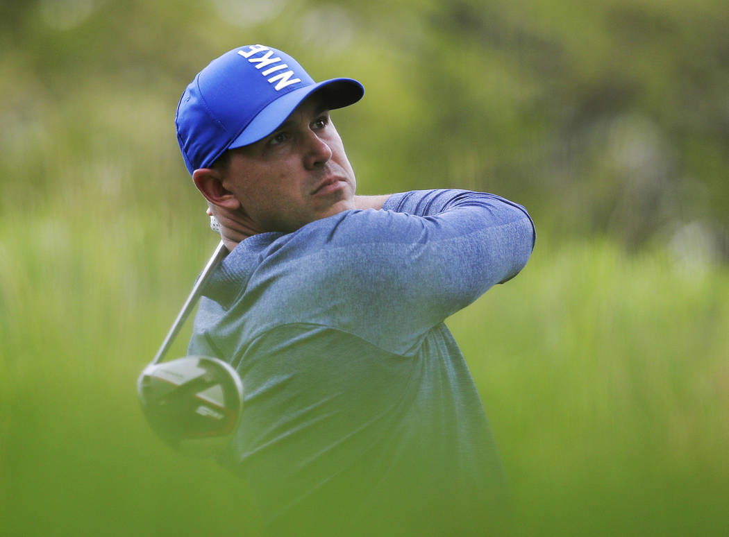 Brooks Koepka hits off the fourth tee during the second round of the PGA Championship golf tour ...