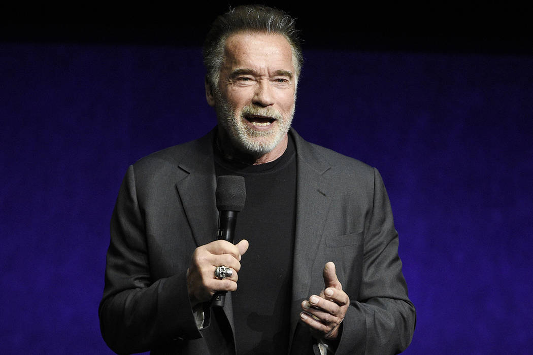In this Thursday, April 4, 2019 file photo, Arnold Schwarzenegger, a cast member in the upcomin ...