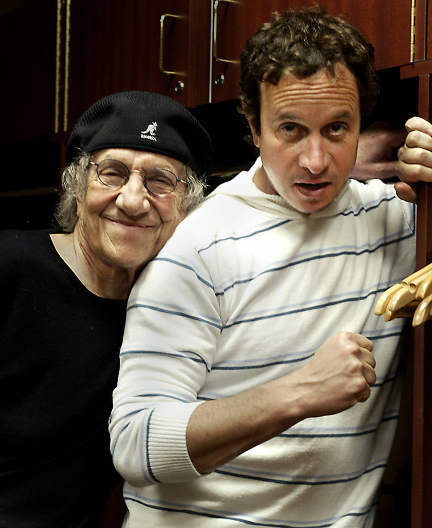 Comedian Sammy Shore, left, stands next to his actor comedian son Pauly Shore in their dressing ...
