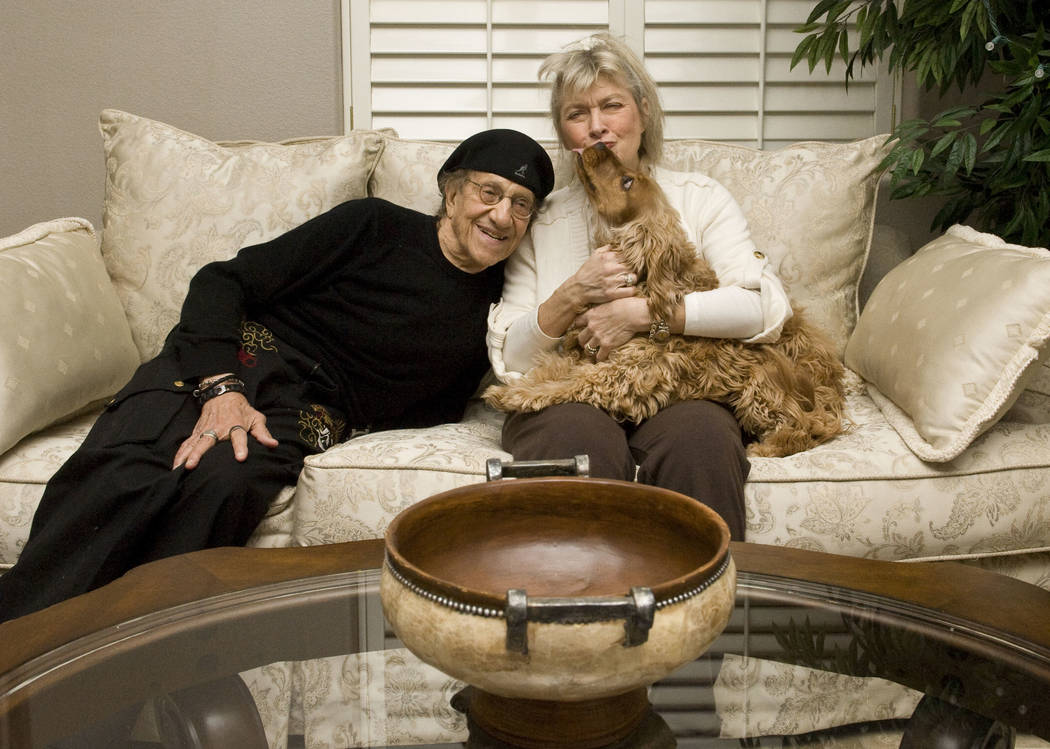 Comedian Sammy Shore, his wife Suzanne and their dog Tallulah clown around in their home in Las ...