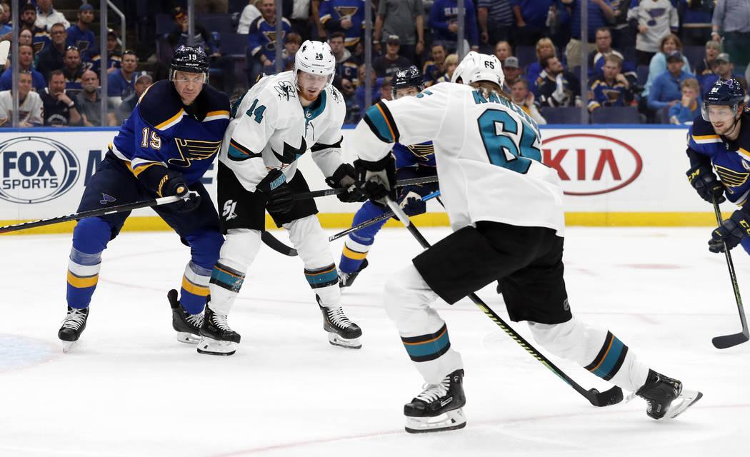 San Jose Sharks defenseman Erik Karlsson (65), of Sweden, scores the winning goal against the S ...