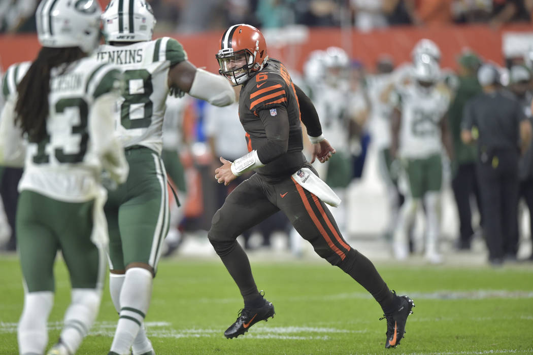 FILE - In this Thursday, Sept. 20, 2018, file photo, Cleveland Browns quarterback Baker Mayfiel ...