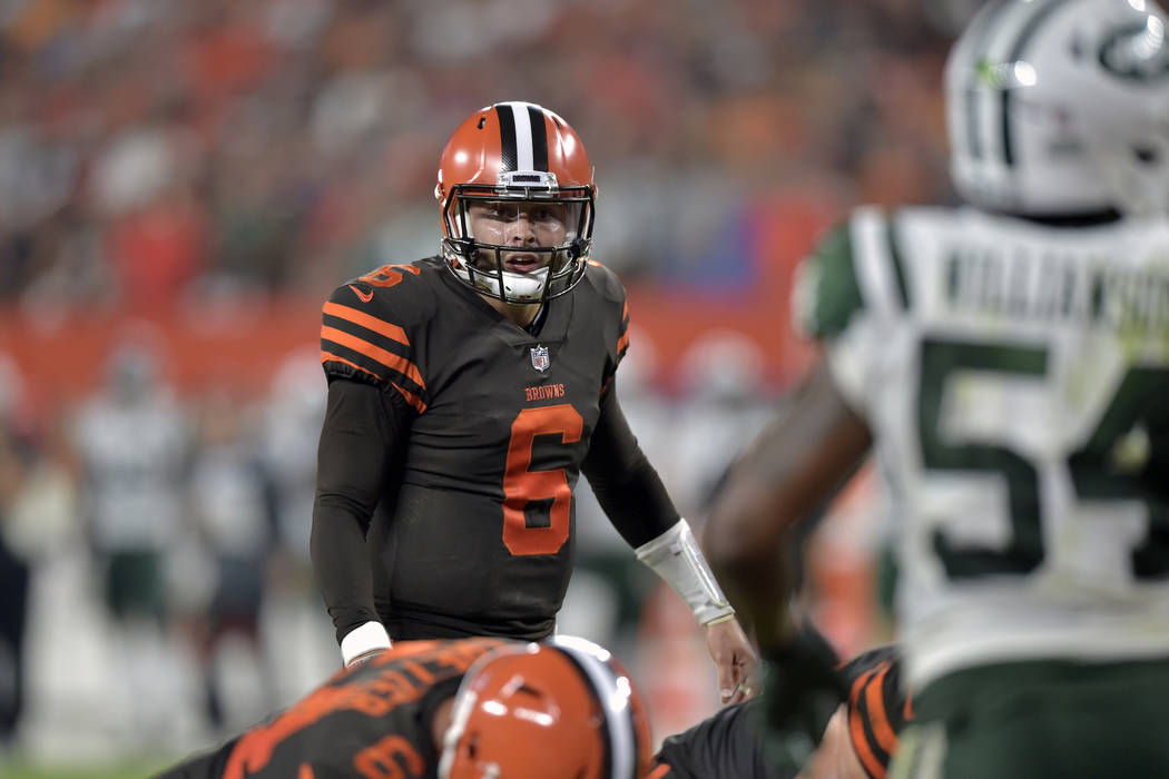FILE - In this Thursday, Sept. 20, 2018 file photo, Cleveland Browns quarterback Baker Mayfield ...