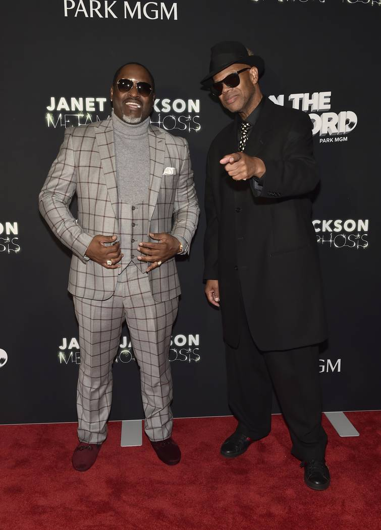 "Johnny Gill (L) and Jimmy Jam attend the Janet Jackson residency debut ""Metamorphosis"" afterpar ..."
