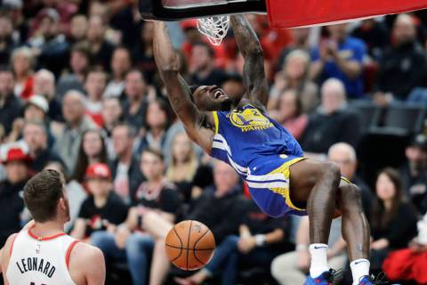 Golden State Warriors forward Jordan Bell dunks during the second half of Game 3 of the team's ...