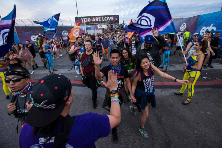Attendees arrive for the second day of the Electric Daisy Carnival at the Las Vegas Motor Speed ...