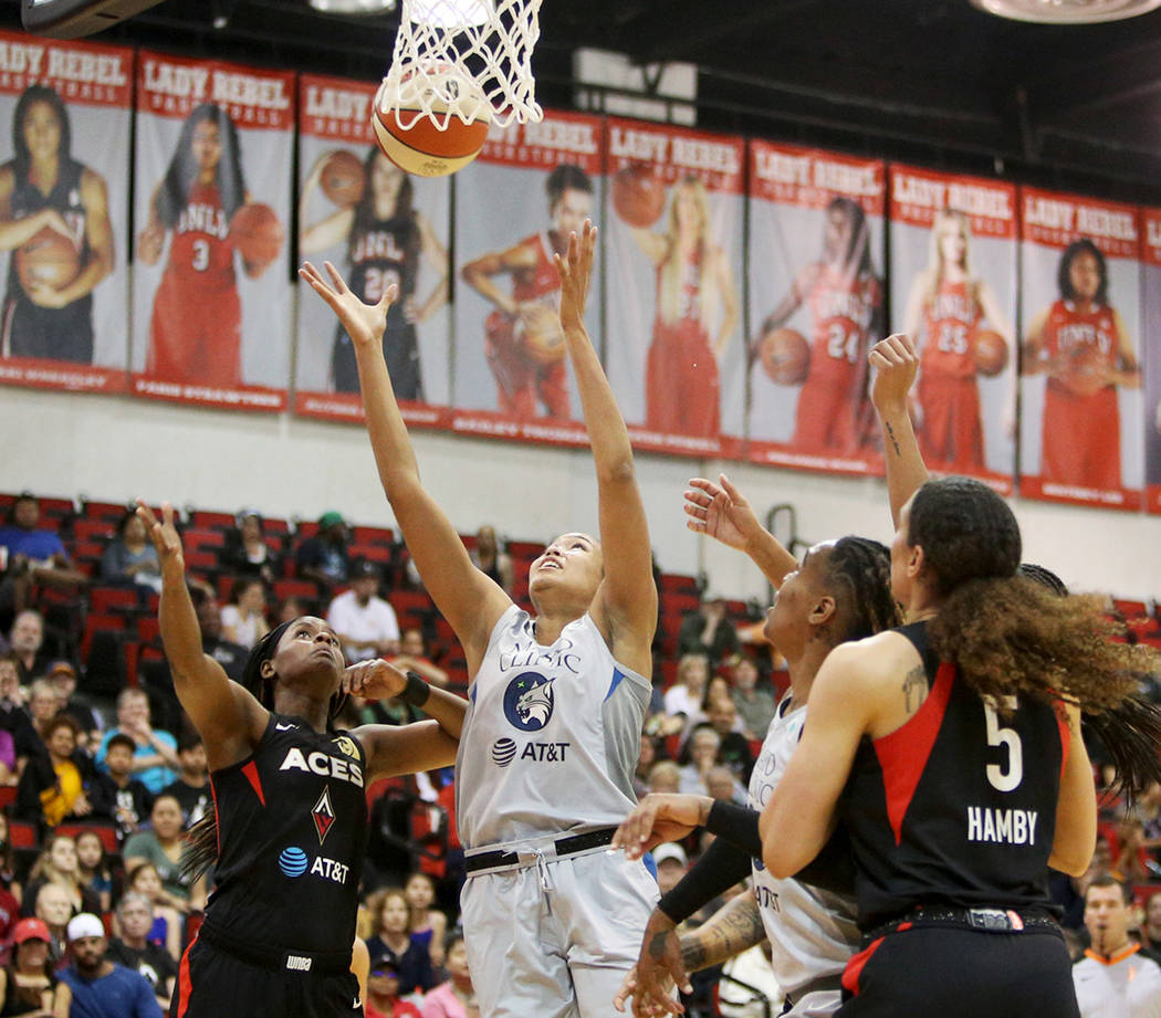 Minnesota Lynx's Napheesa Collier (24) attempts a basket during a preseason game at Cox Pavilio ...