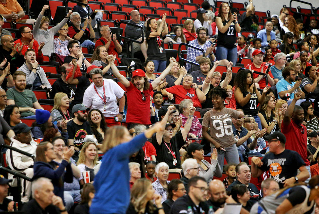 The crowd applauds a basket at a preseason game of the Las Vegas Aces against the Minnesota Lyn ...