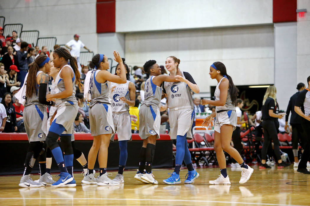 Minnesota Lynx react after a basket against the Las Vegas Aces during a preseason game at Cox P ...