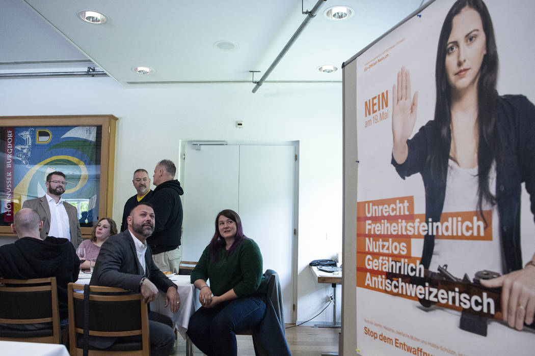 Meeting rooms and a poster of the committee against the EU gun laws and policies, prior to the ...