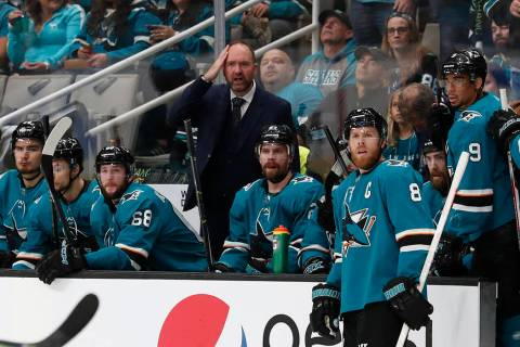 San Jose Sharks head coach Peter DeBoer reacts behind the bench during the first period in Game ...