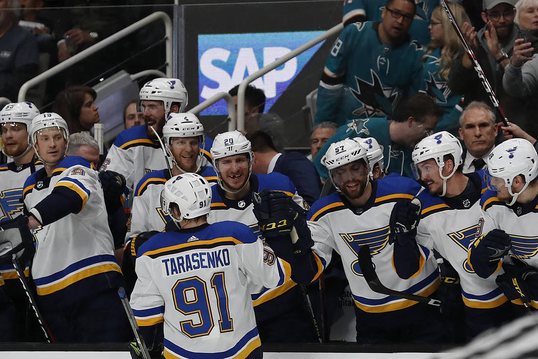 St. Louis Blues' Vladimir Tarasenko (91) celebrates a goal with the bench in the second period ...