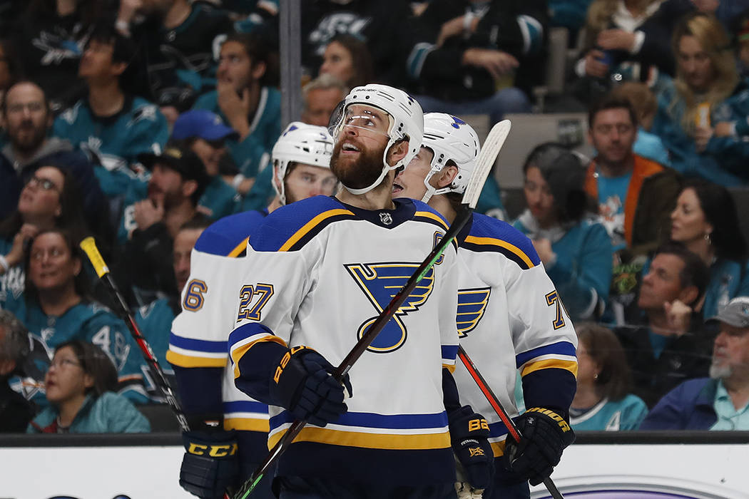 St. Louis Blues' Alex Pietrangelo (27) celebrates a goal against the San Jose Sharks by Oskar S ...